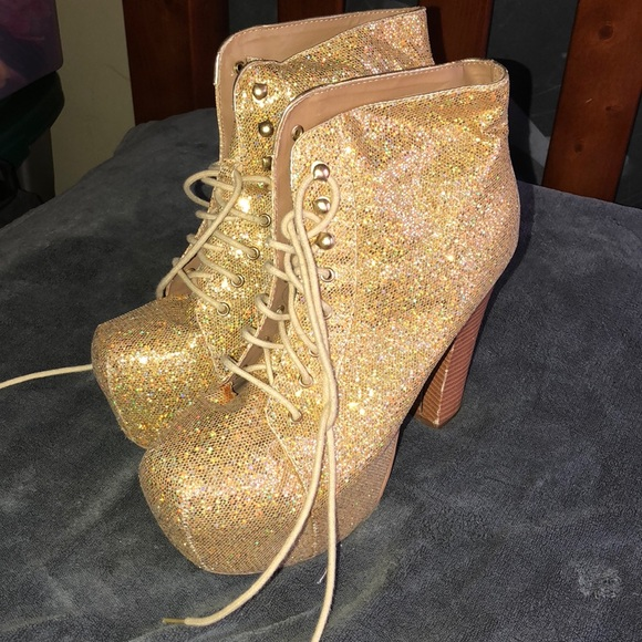 gold sparkle booties